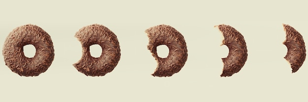 3d render process of eating a chocolate donut on light background banner