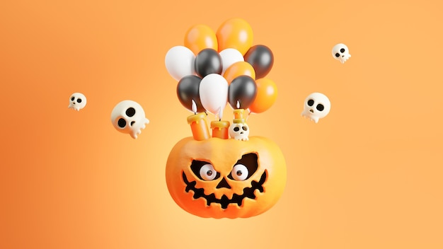 3d render of pumpkin at halloween day with decoration