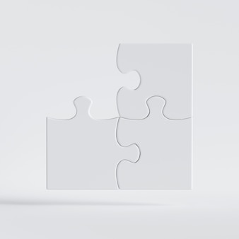 3d render, puzzle game with lost corner piece. clip art isolated on white background.