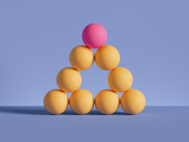 3d render of pyramid of yellow balls isolated