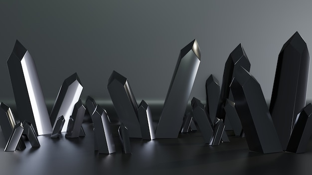 3d render quartz crystals isolated with dark color
