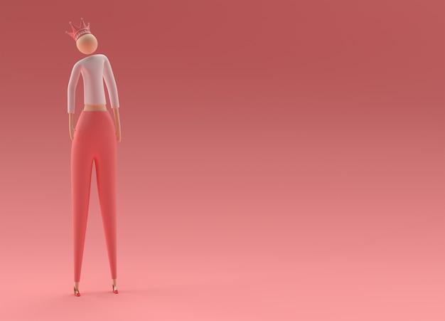 색상 배경에 왕관 3d 그림을 입고 3d 렌더링 여왕.