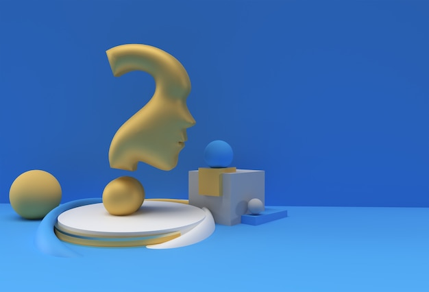 3d render question mark with human face display products advertising illustration design element.