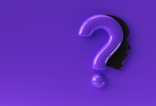 3d render question mark with human face icon illustration design element.
