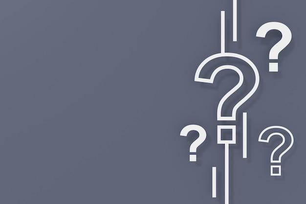 3d render question marks on dark grey background