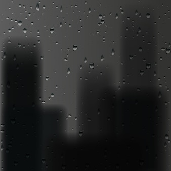 3d render rain drops on window with black city background