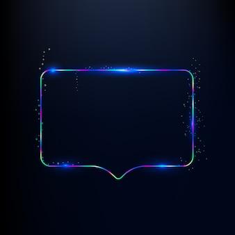 3d render rainbow neon colors speech bubble shape isolated on dark blue background