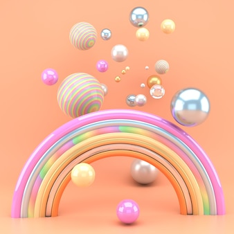 3d render of a rainbow with colorful balls. 3d illustration.