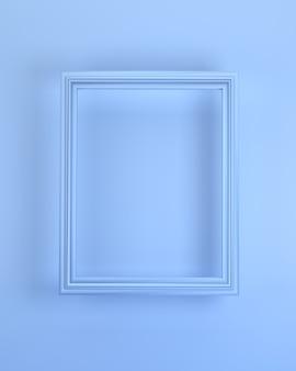 3d визуализация реалистичная синяя рамка. идеально подходит для ваших фото-презентаций на синем фоне