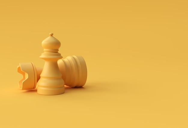 パステルイエローの背景イラストデザインで分離された3dレンダリングのリアルなチェス。