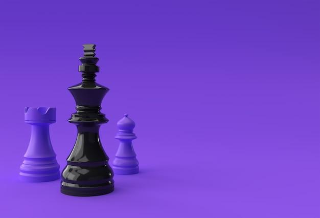 3d 렌더링 현실적인 체스 킹 루크와 졸 군인 그림 디자인입니다.