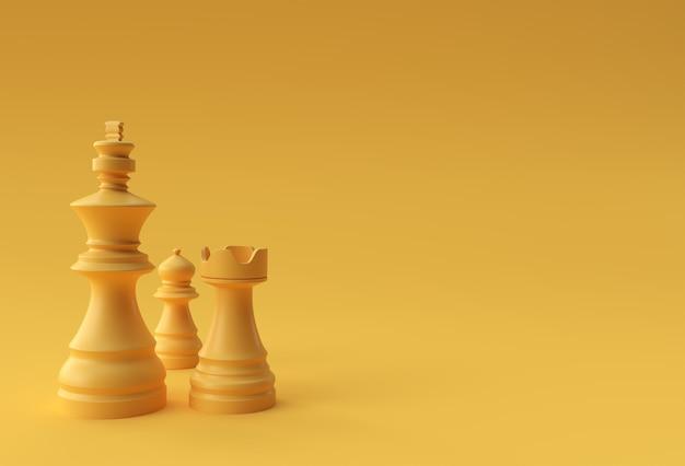 3d визуализации реалистичные шахматы король ладья и пешки солдат иллюстрации дизайн.