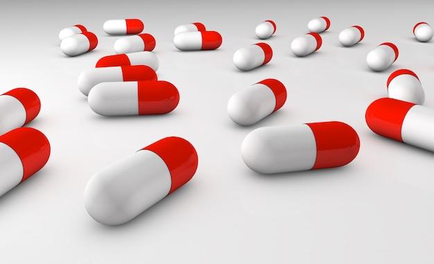 3d визуализация реалистичный медицинский значок таблетки на белом фоне. шаблон оформления для графики, баннеров.