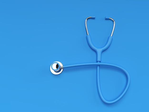 色の背景に3dレンダリングのリアルな医療聴診器。