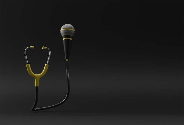 3d render realistic medical stethoscope with mic illustration design.