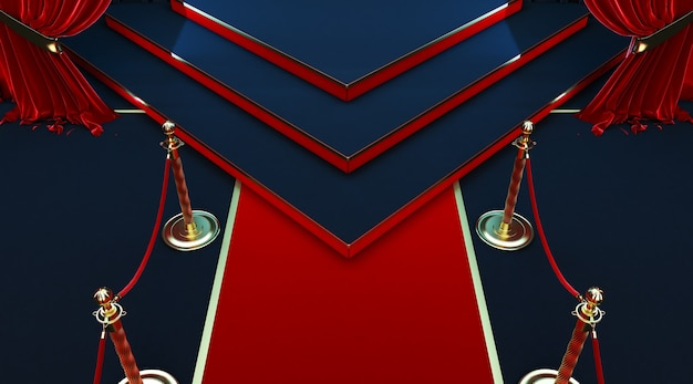 3d render of realistic red carpet and pedestal with barriers fences and velvet rope