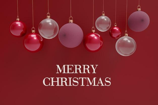 3dレンダリングリアルなレッドゴールドとシルバーのぶら下がっているクリスマスボールを分離