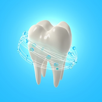 3d render realistic teeth. clean white teeth with mouth rinse
