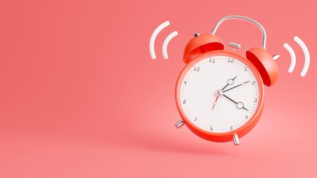 3d render of red alarm clock