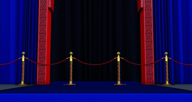 3d render of red arabic door with red rope barrier, blue carpet, vip concept