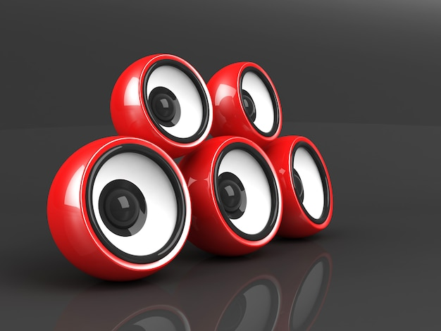 3d render of red audio system