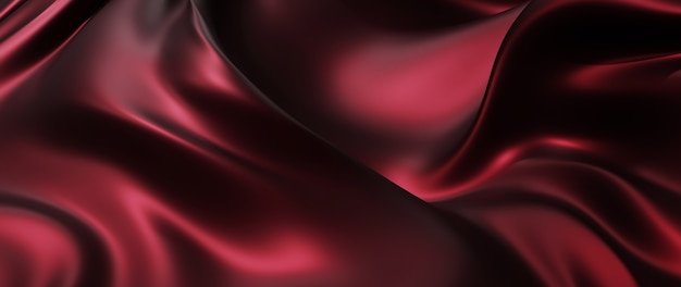 3d render of red and black cloth. iridescent holographic foil. abstract art fashion background.