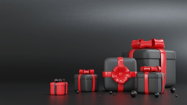 3d render of red and black gift box for christmas