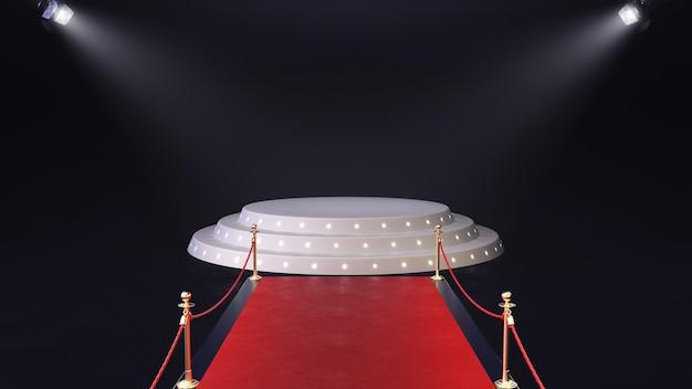 3d визуализация красной ковровой дорожки с подиумом и светящимися прожекторами