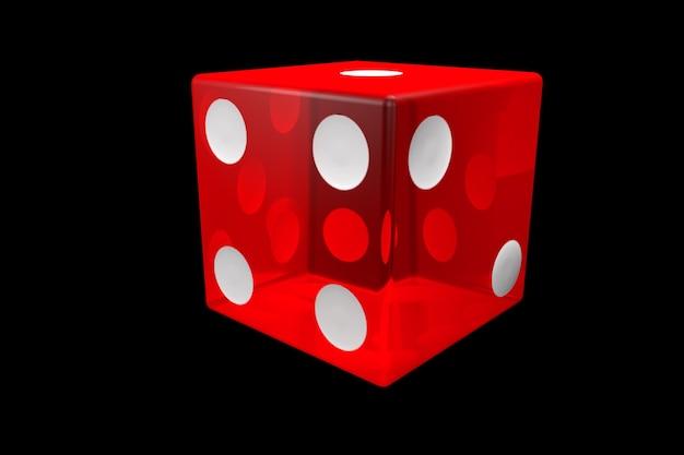 3dレンダリングの赤いカジノダイス。黒の背景に分離されたポーカーキューブ。