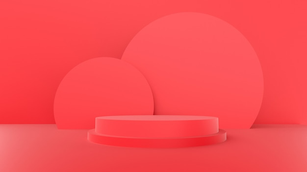 3d render, red color with a minimal abstract concept.