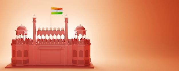3d render red fort monument with india flag and copy space on glossy orange background.