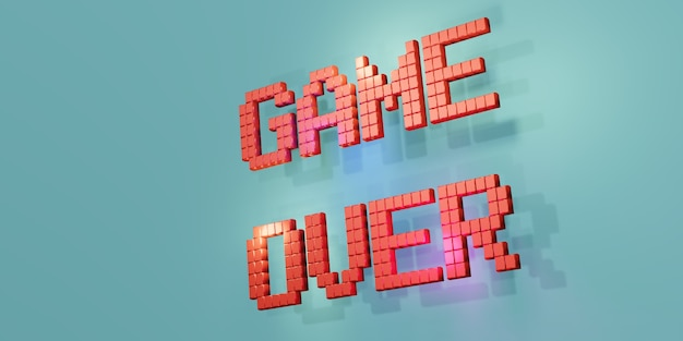 3d render red game over text on blue background