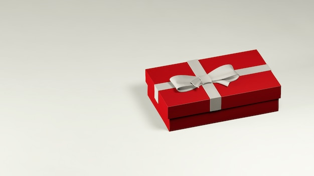 3d render of red gift box decorated with white ribbon and bow