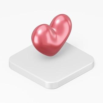 흰색 배경에 고립 된 흰색 사각형 버튼 키에 3d 렌더링 붉은 심장 아이콘