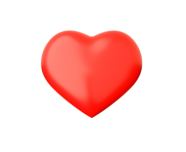 3d render red heart shape isolated on white background.