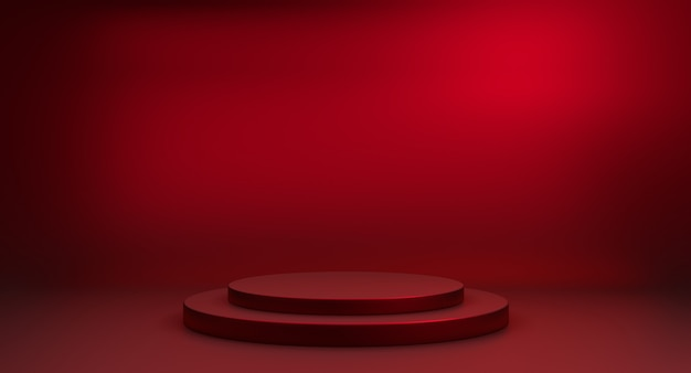 3d render red minimalistic stair podium on white background