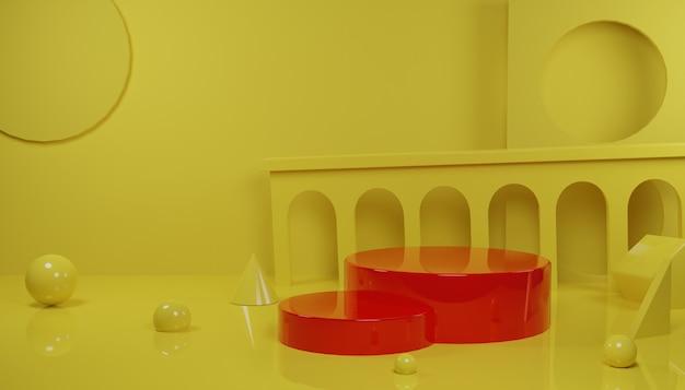 노란색 배경에서 제품 홍보를 위해 3d 렌더링 빨간색 연단 장면