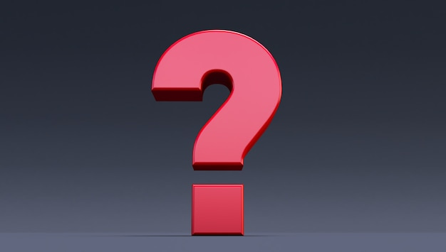 3d render of red question mark on a black background, question in black ground