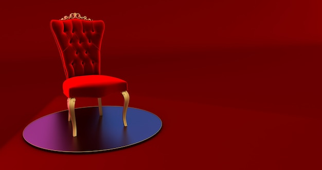 3d render of red royal chair  on a pedestal.