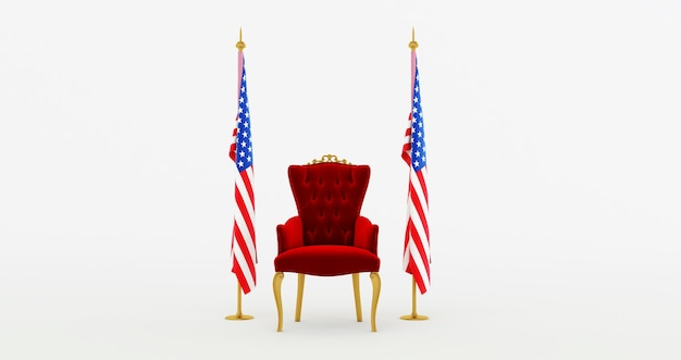 3d render of red royal chair on a white background betwin two flags, usa flag, united states of america