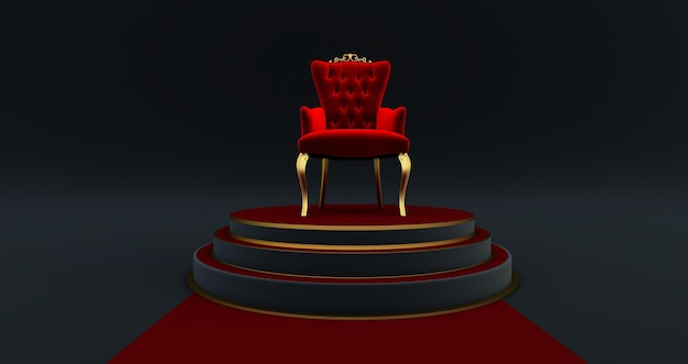 3d render of red royal chair