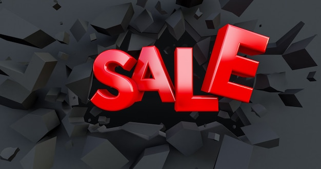 3d render of red sale word, 3d red sale word on cracked wall