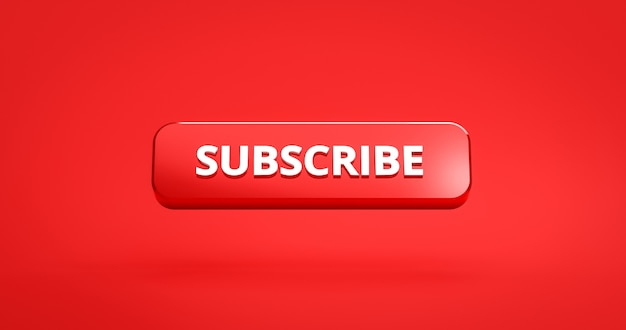 3d render red subscribe button on red background