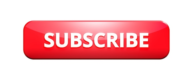 3d render red subscribe button on white background