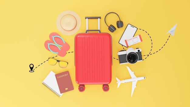 3d render of red suitcase with travel accessories of tourism concept