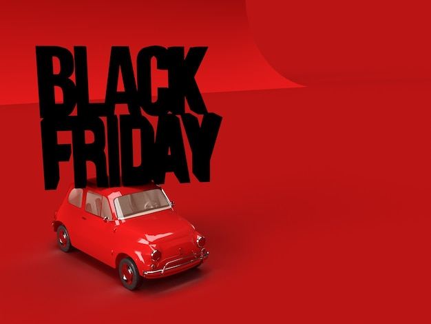 3d render. red toy car carrying words black friday on red background. concept of sales. copy space