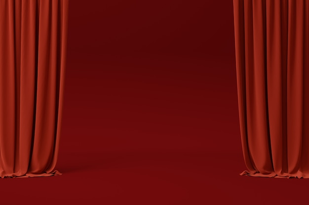 3d render red velvet curtain as backdrop