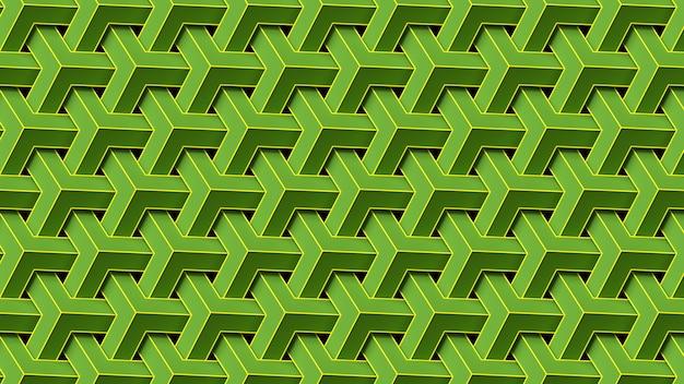 緑の幾何学模様を繰り返す3dレンダリング