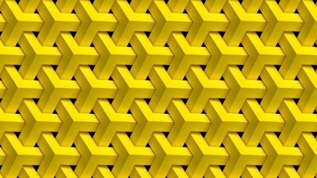 3d render repeating yellow geometric pattern