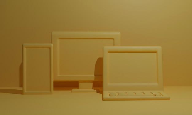 3d 렌더링 응답 개념 노란색입니다. 온라인 쇼핑 개념, 모바일, 노트북, 컴퓨터. 3d 렌더링